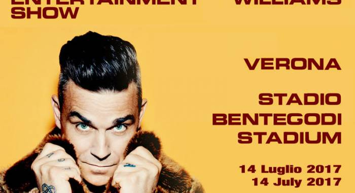 Where to sleep for Robbie Williams's concert in Verona, Bentegodi Stadium: the only date in Italy