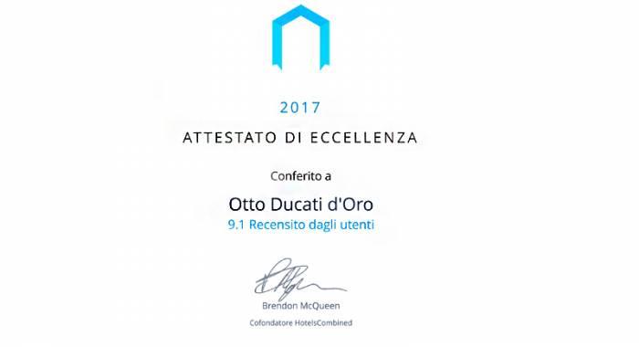Otto Ducati d'Oro: una delle migliori strutture ricettive nel 2017